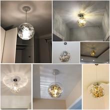 Transparent glass ball chandelier, Nordic, modern, minimalist bedroom, romantic personality, entrance restaurant, Wednesday coff