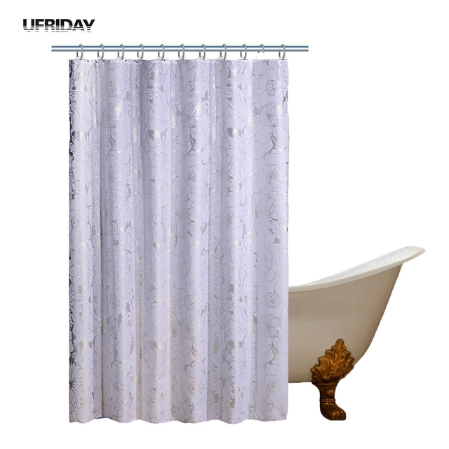 UFRIDAY Luxury Waterproof Shower Curtain Silver Floral White Polyester Bath Flower High Quality Eco