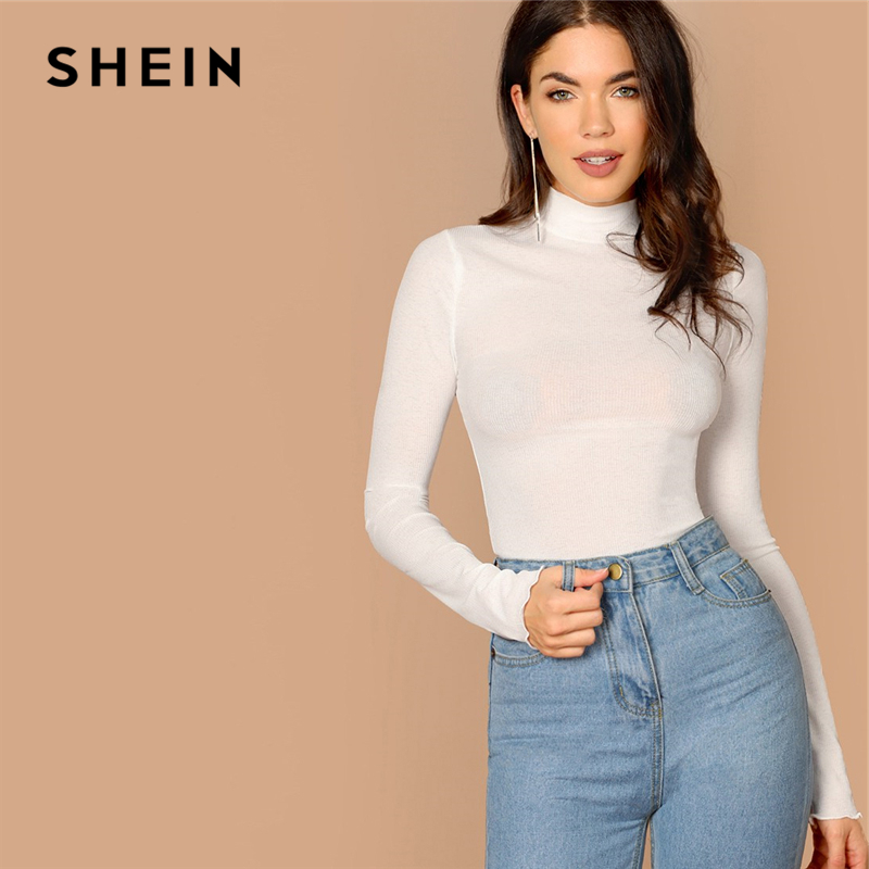 SHEIN Basic Office Lady Solid Mock Neck Lettuce Trim Long Sleeve Skinny Pullovers Tee Autumn Casual Women Tshirt Top