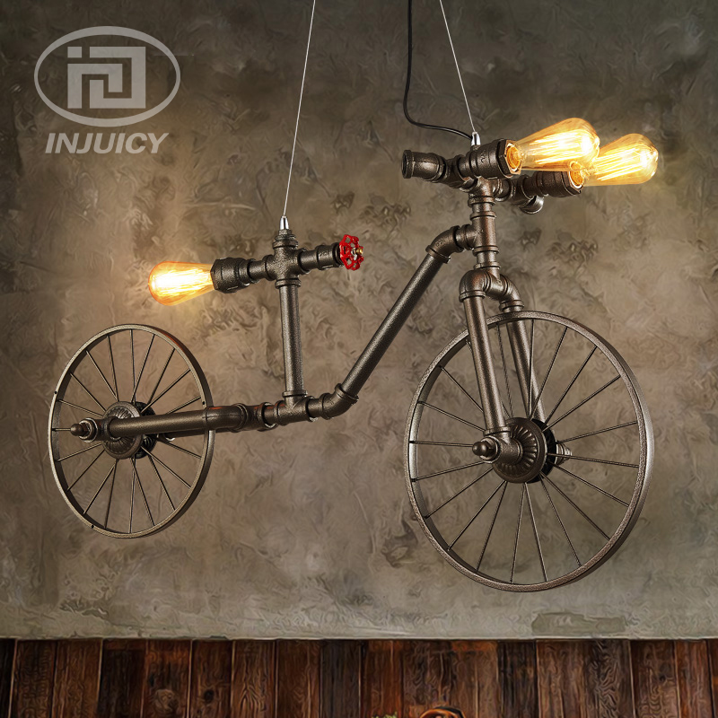 LOFT Nordic Retro Cafe Restaurant Bar Iron Water Pipe Industrial Chandelier Lighting Cycling Bike Decorative Pendant Lamp new loft vintage iron pendant light industrial lighting glass guard design bar cafe restaurant cage pendant lamp hanging lights
