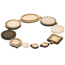 10 Pcs Holz Runde Oval Form Cabochon Basis Einstellung Braun Farbe Holz Charms Anhänger Tray Halskette Schmuck, Die Diy(China)