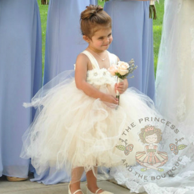 5dff4180049c Ivory Champagne Flower Girl Dress for Wedding Party Princess Ivory ...