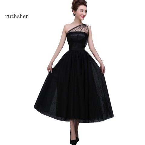 Vestidos de Baile Ruthshen Preto Baratos Ombro Bolinhas Tule Chá Comprimento Festa Noite Vestidos 2020 um