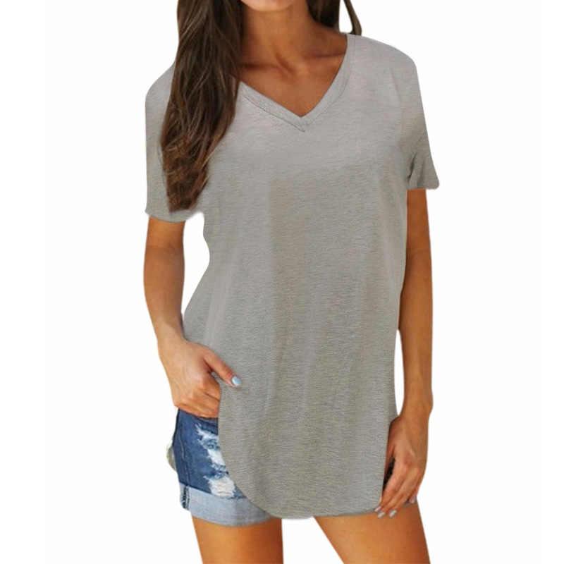Wanita Musim Panas T-shirt Fashion Pendek Lengan Seksi V Leher Top Kasual Longgar Dasar Polos Padat Panjang Pullover Split Irregular Tee kemeja