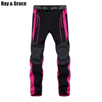 RAY GRACE Winter Outdoor Trekking Hiking Softshell Pants Women Waterproof Mountain Climbing Thermal Trousers Female Pantalon