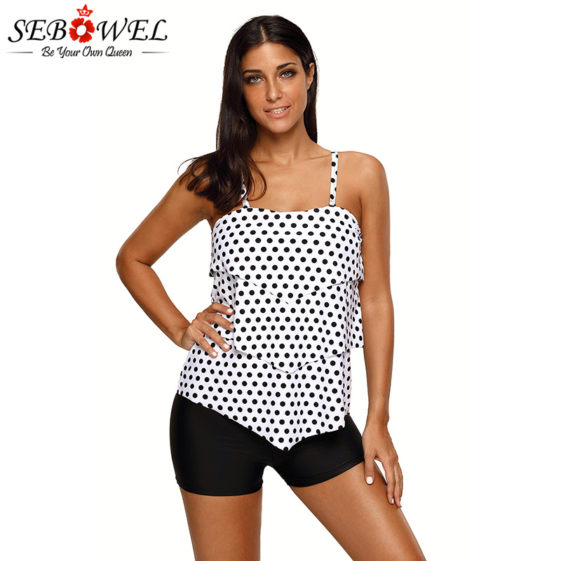 SEBOWEL 2018 Sexy Black White Polka Dot Print Tankini Swimsuit Women Beach Ruffle Layered 2pcs Swimwear Mujer Suits Swim Wear contrast halter and binding layered ruffle bodice jumpsuit