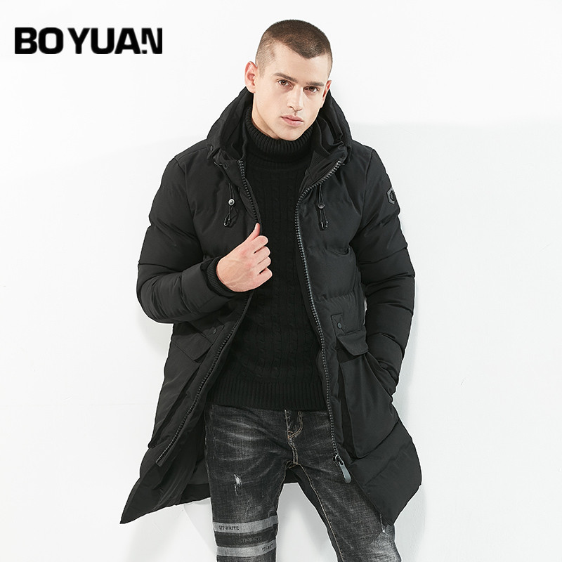 BOYUAN Men's Winter Jacket Long Parka Warm Thick Windbreaker Overcoat Hooded Jackets Men Solid Casual Fashion Parkas DSW-WZ80 new arrival 2017 men autumn and winter warm windbreaker long sleeves solid color hooded sports quick drying softshell men 150