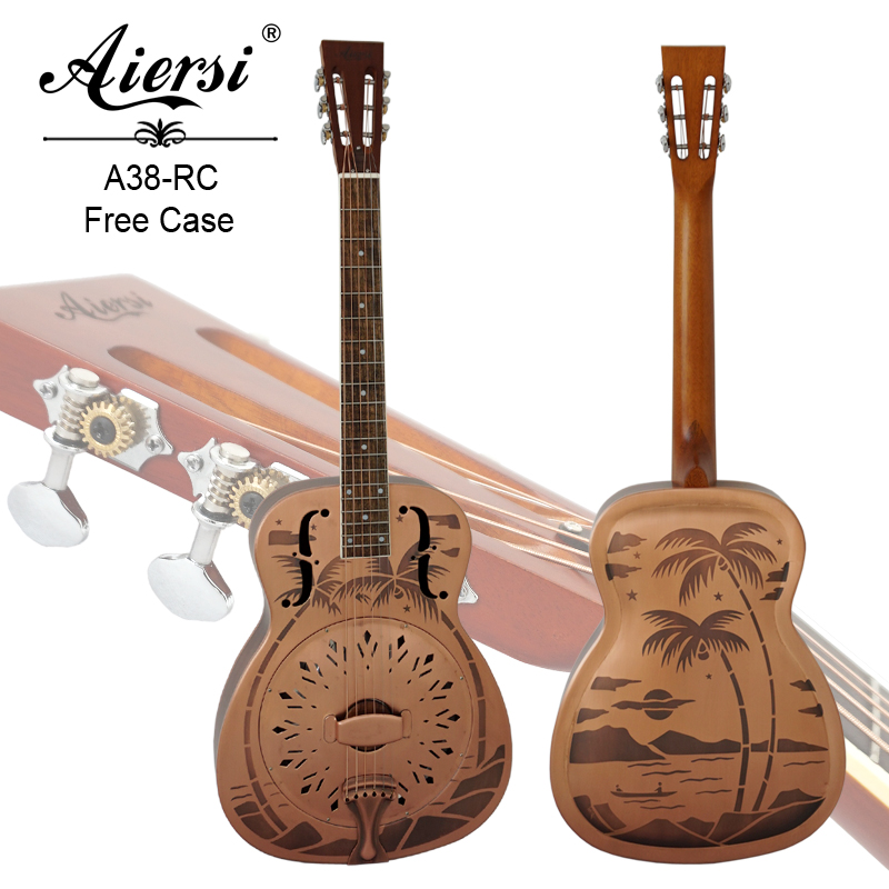 Aiersi Brand Style O Bell Brass Blues Slide Resonator guitar with Sandblasted Model A38-RC