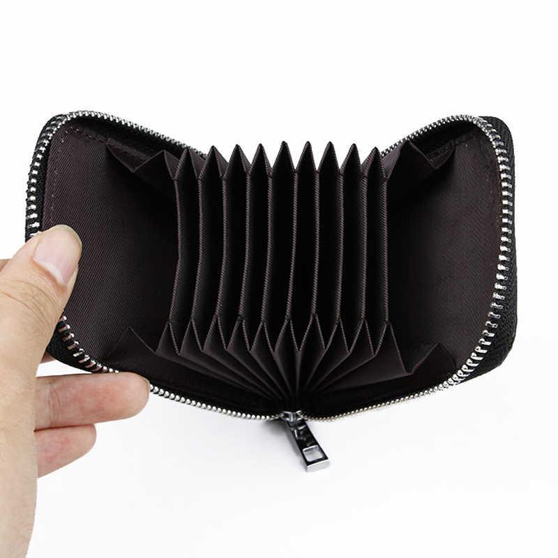 Cartera de tarjeta Unisex de cuero genuino con cremallera de alta calidad con tarjetero para mujer