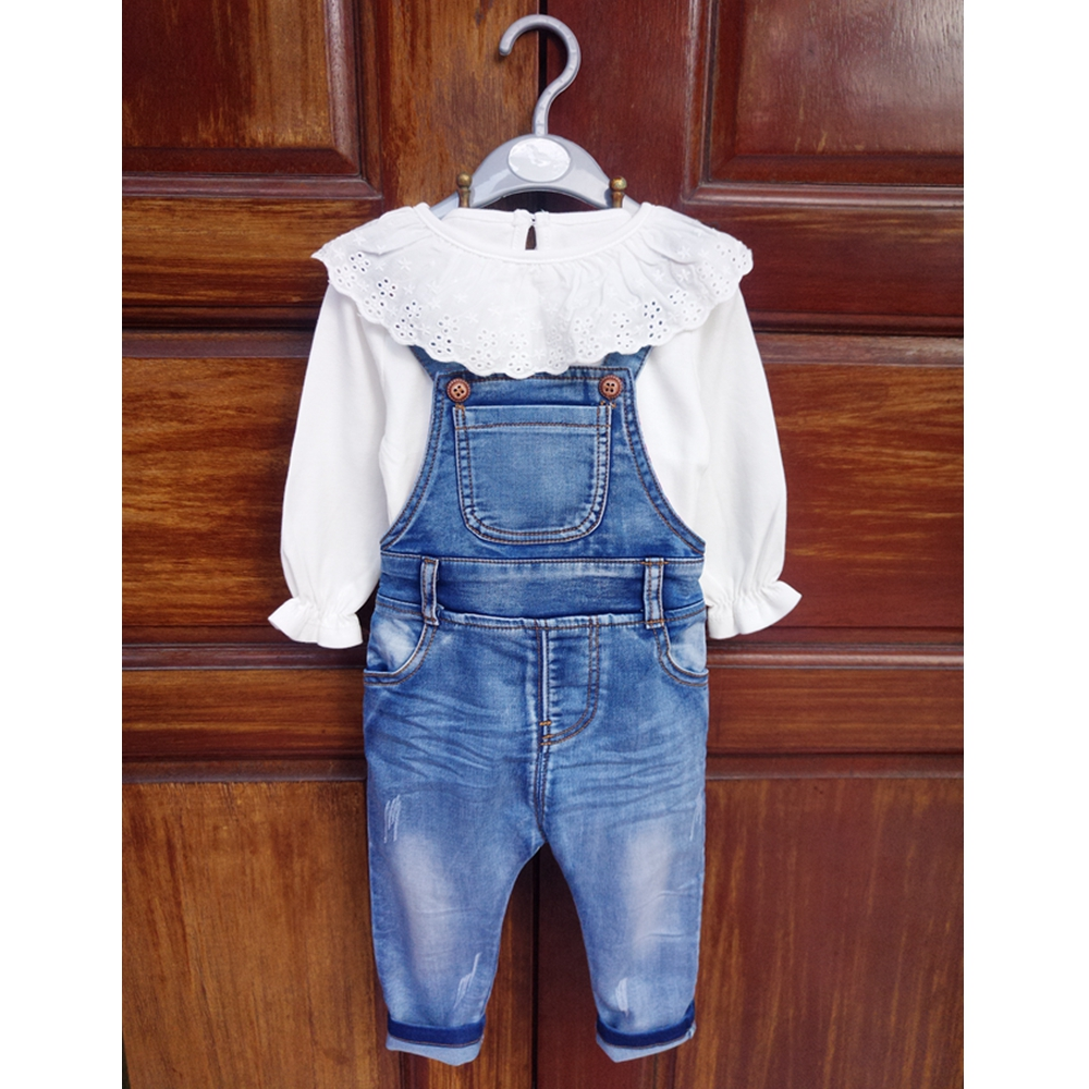 Baby Rompers Spring Autumn Infant Jeans Overalls Sets Full Sleeves Cotton White Shirts Denim Jumpsuits Todder Outfits Clothes autumn mens full length denim pencil pants vintage slim fit jeans cargo overalls pockets casual homme biker jean jumpsuits