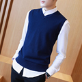 M-3XL Sweater Men Autumn Autumn Sweater Vest Men V Neck  100% Cotton Mens Vest Sweaters S874