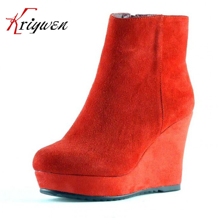 Online Get Cheap Black Suede Wedge Ankle Boots -Aliexpress.com