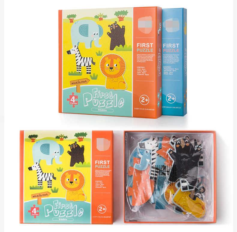 6 estilo 0-3 anos de idade do bebê dos desenhos animados criativos criança quebra-cabeça jogo de correspondência cartão cognitivo conjunto de animais par puzzle educação brinquedos