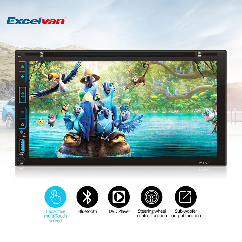 Clear Stock 6.95'' HD 2Din Capacitive Touch Screen Car DVD Player Stereo Radio Audio Bluetooth USB/SD/FM/AM/CD/DVD/MP3/MP4 niorfnio portable 0 6w fm transmitter mp3 broadcast radio transmitter for car meeting tour guide y4409b