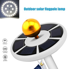 26 LEDs Solar Power Flag Pole Lights Weatherproof Flagpole Downlight Auto On/Off Night Lighting with Solar Panel ALI88
