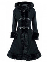 Winter New Trench Coat Gothic Medieval Vintage Long Winter Hooded Coat Party Fashion Button Patchwork Long Sleeve Coat