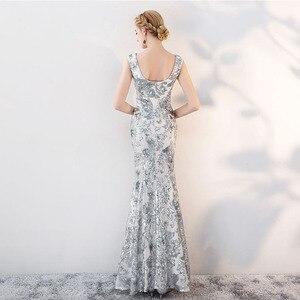 Image 5 - Cổ điển V Cổ Evening Dresses Tầng Length Vàng Evening Dresses Đảng Bạc Sequins Mermaid Phong Cách Front Chia Evening Gowns