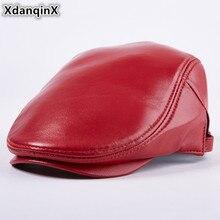 XdanqinX Adjustable Size New Genuine Leather Hats For Men Women Autumn Winter Sheepskin Berets Simple Flat Cap Sombrero De Cuero