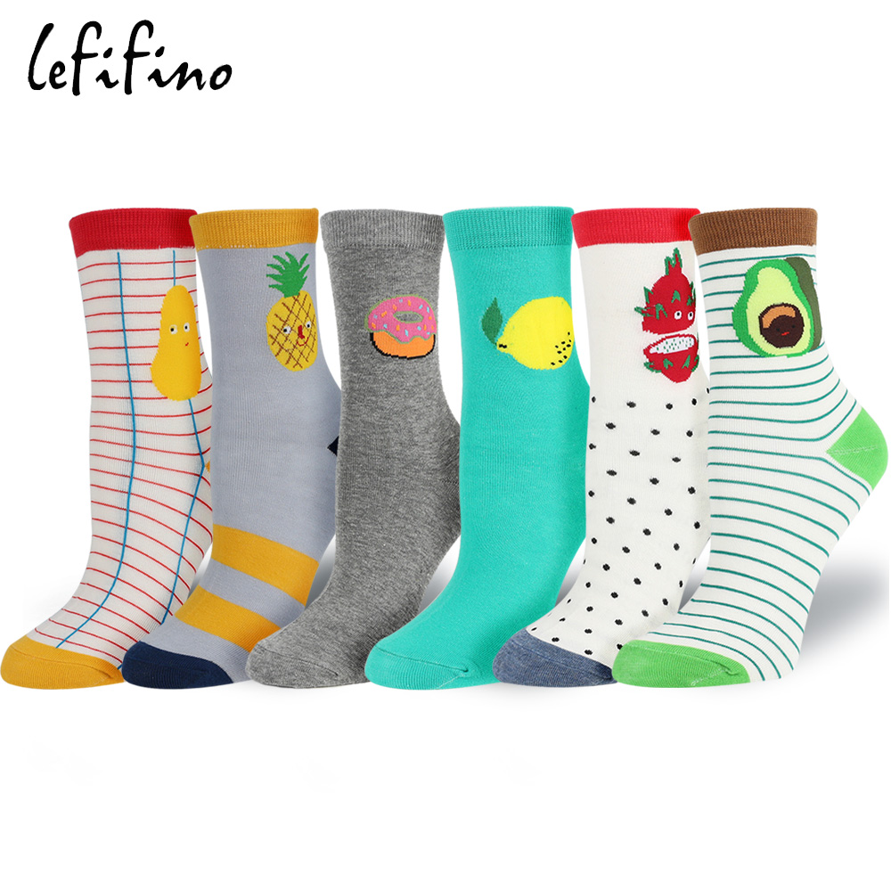 Women Cute Fruit Food Socks Stripes Potato Pineapple Pitaya Avocado Socks Printed Lemon Doughnut Cotton Novelty Socks Le11840