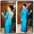 Elegant Blue Jewel Sheer Back Beaded Embroideried Straight Long Sleeve Jersey Evening Dresses