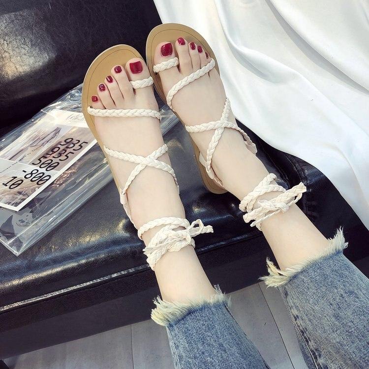 Ipccm Chaussures Sandales Pied Beige De black La Plat Automne Et Cravate Coréenne Femmes Tissé Printemps 2018 Anneau Version rZ4UAr