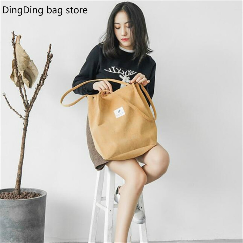 High Capacity Women Corduroy Tote Ladies Casual Solid Color Shoulder Bag Foldable Reusable Women Shopping Beach Bag