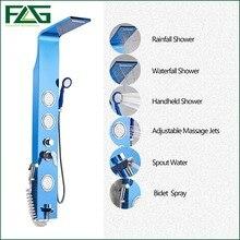 Englisch Blaue Farbe 304 Edelstahl Hahn-edelstahl-niederschlag-dusche-panel Regen Massage System Wasserhahn Mit Jets Handbrause Gebürstet Tap LY-4