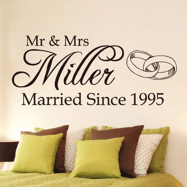 Romantic wedding personalised name vinyl wall sticker mr and mrs art decal bedroom stickers home decoration