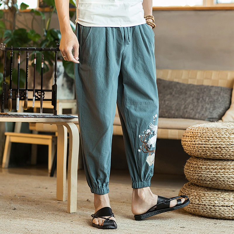 Nanquan Men Elastic Waist Loose Fit Casual Sport Cargo Jogger Pants Trousers