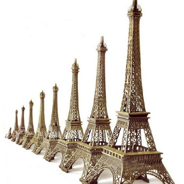 25cm Vintage Bronze Paris Eiffel Tower Figurine Statue Model Home Decor Souvenir Hot Sales China