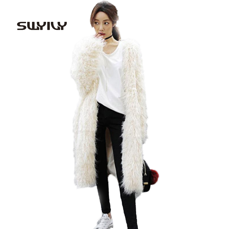 Sale Super Warm White Long Fuax Wool Fur Coat Fashion 2017 Winter Elegant Outwear Female Age Reduction Sweet Fur Clothing