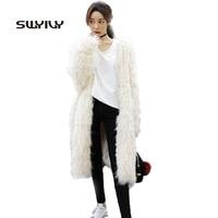 Sale Super Warm White Long Fuax Wool Fur Coat Fashion 2017 Winter Elegant Outwear Female Age