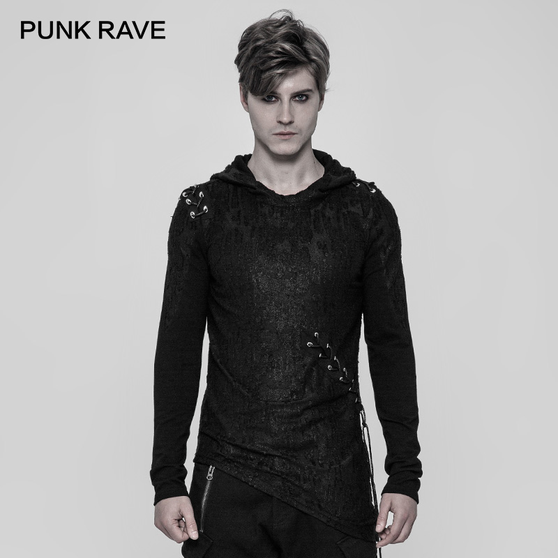 PUNK RAVE Nieuwe Punk Diablo T shirt Cool Black Mannen Shirts Gothic Zwarte Hoodie Nauwsluitend Rock Katoen Ongedwongen Persoonlijkheid tops