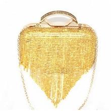 2016 Luxury Gold Diamond Tassel Evening Clutch Bags Elegant Women Mini Chain Shoulder Bags Ladies Purses Fashion Handbags 1133t