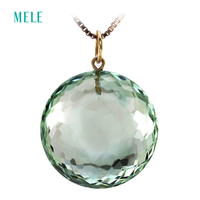 Natural green crystal real 18K yellow gold pendant for women,18mm round cut shape Special cutting process fashion fine jewelry