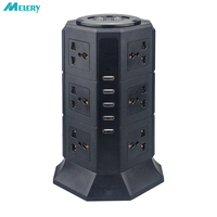 USB Power Strip Vertical 8/12 EU/UK/US/AU Plug Universal Outlet Sockets with USB Charger Surge Protector 6.6ft/2m Extension Cord