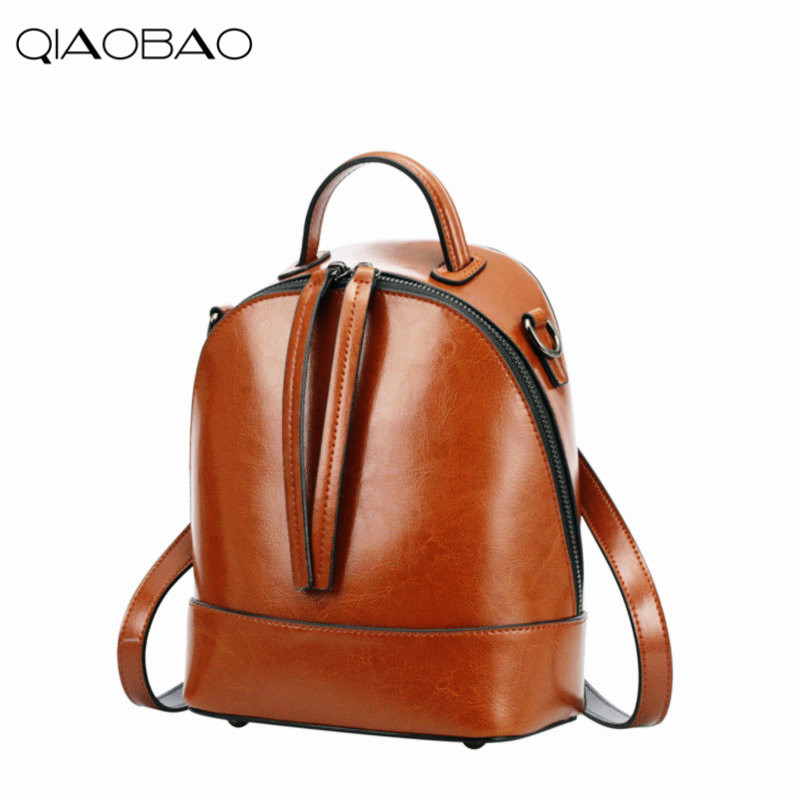 QIAOBAO 2018 Natural Cowhide Leather Backpack Fashion Bag Mochila Feminina Large Girl Schoolbag Travel Bag Cowhide backpack new women leather backpack black bolsas mochila feminina girl schoolbag travel bag solid candy color green pink beige