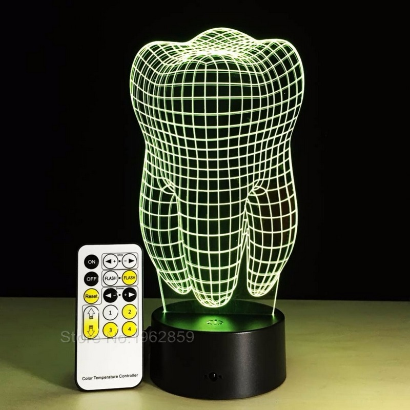 Image 4 - Teeth Type 3D Led Lamp Dental Creative Gift Colorful 3D Tooth Gradient Light Dental Clinic Artwork Artware Night Dental ShowsTeeth Whitening   -