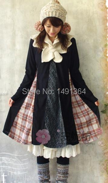 Harajuku Mori Style Vintage Lace Plaid Patchwork Novelty