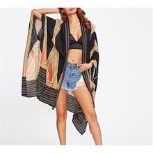 Fashion 2019 Summer Women Vintage Multicolor Long Geo Print Blouse Casual Loose Beach Long Sleeve Kimono Shirts geo print v neckline kimono
