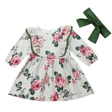 Toddler Baby Kids Girl Floral Long Sleeve Dress Kids Princess Tutu Dresses Wedding Party Gown 2Pcs summer baby girl dress 2016 new princess dress baby girls party for toddler girl dresses clothing long sleeve tutu kids clothes