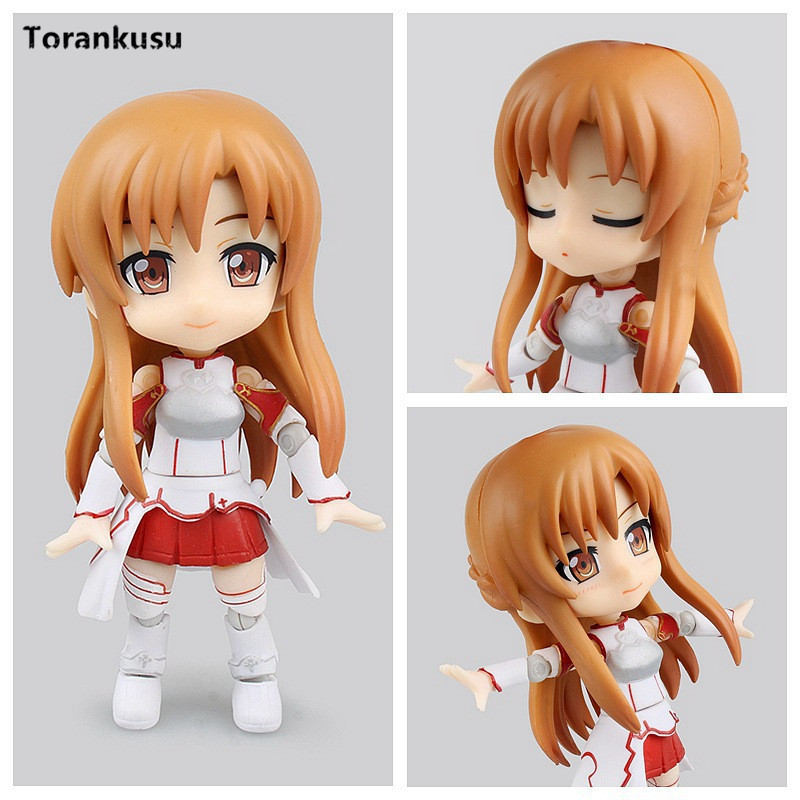 Sword Art Online Action Figure Asuna Cu-poche Nendoroid 017# PVC Toy 100mm Q Ver. Girl Anime Game Asuna Collectible Model Doll