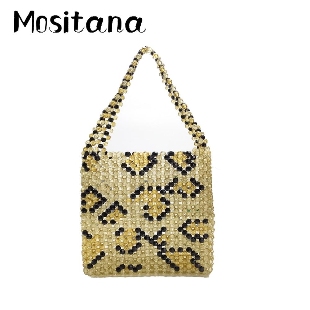 2019 New Women's Bag Leopard Beaded Acrylic Beads Transparent Hollow Beach Bag