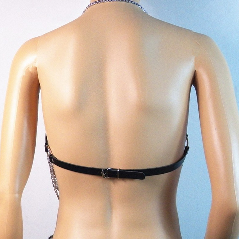 Women Harness Body Chain Backless Party Straps Leather Bralette Buckles Bra Top