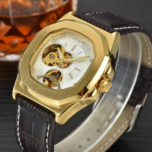 MCE Luxury Brand Skeleton Square Mechanical Watches Leather Gold Automatic Watch Men Waterproof Casual Wristwatch Reloj Hombre