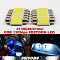 Wholesale!! 10x Super White 31/36/39/41mm 12Chips COB LED Festoon Bulb For Interior Map Dome License Plate Light FAST SHIIPPING