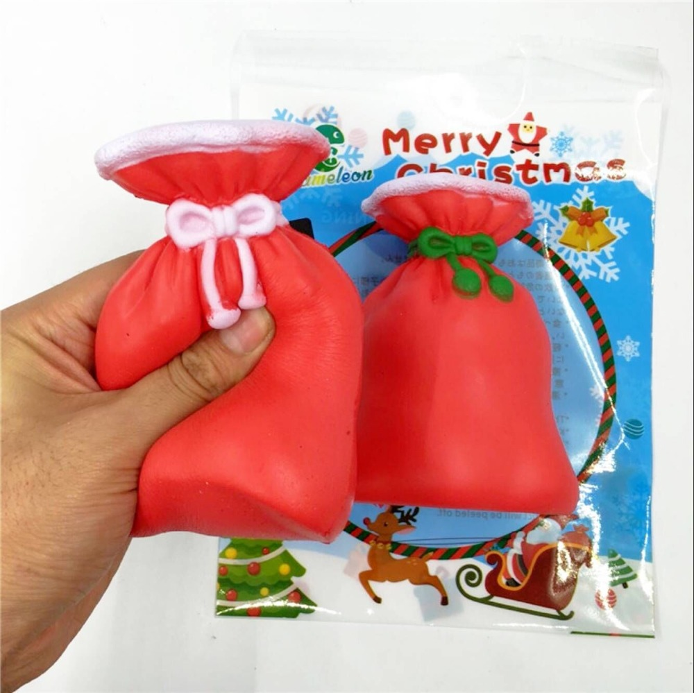 Red Purse Novelty Squishy Toys Anti-stress Slow Rising Toy Christmas style Squeeze Stress Relief Adult Children Squishi Gift