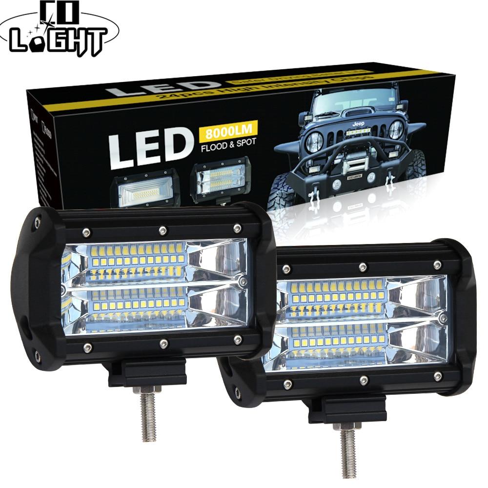 Со светом 5 дюймов Led свет работы бар 12 В 72 Вт 144 Вт пятно потока 24 В 6000 К светодиодные панели для внедорожник Offroad ATV Jeep Вождение фары автомобил...