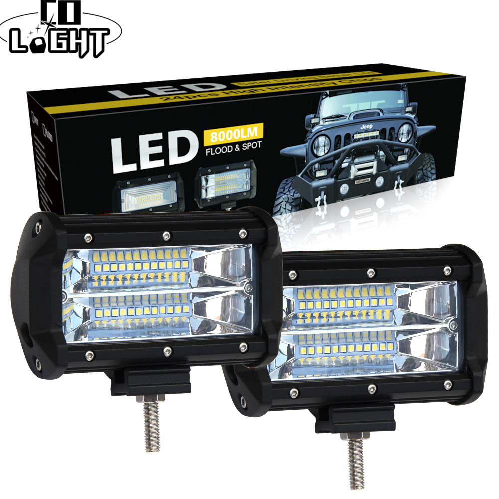 CO LIGHT 5 inch Led Work Light Bar 12V 72W 144W Spot Flood 24V 6000K Led Bar for SUV Offroad ATV Jeep Driving Lights Car Styling amber white led offroad bar gdcreestar selling 20inch 12v led offroad bar kr9016 90 90w 12v led driving work bar lights