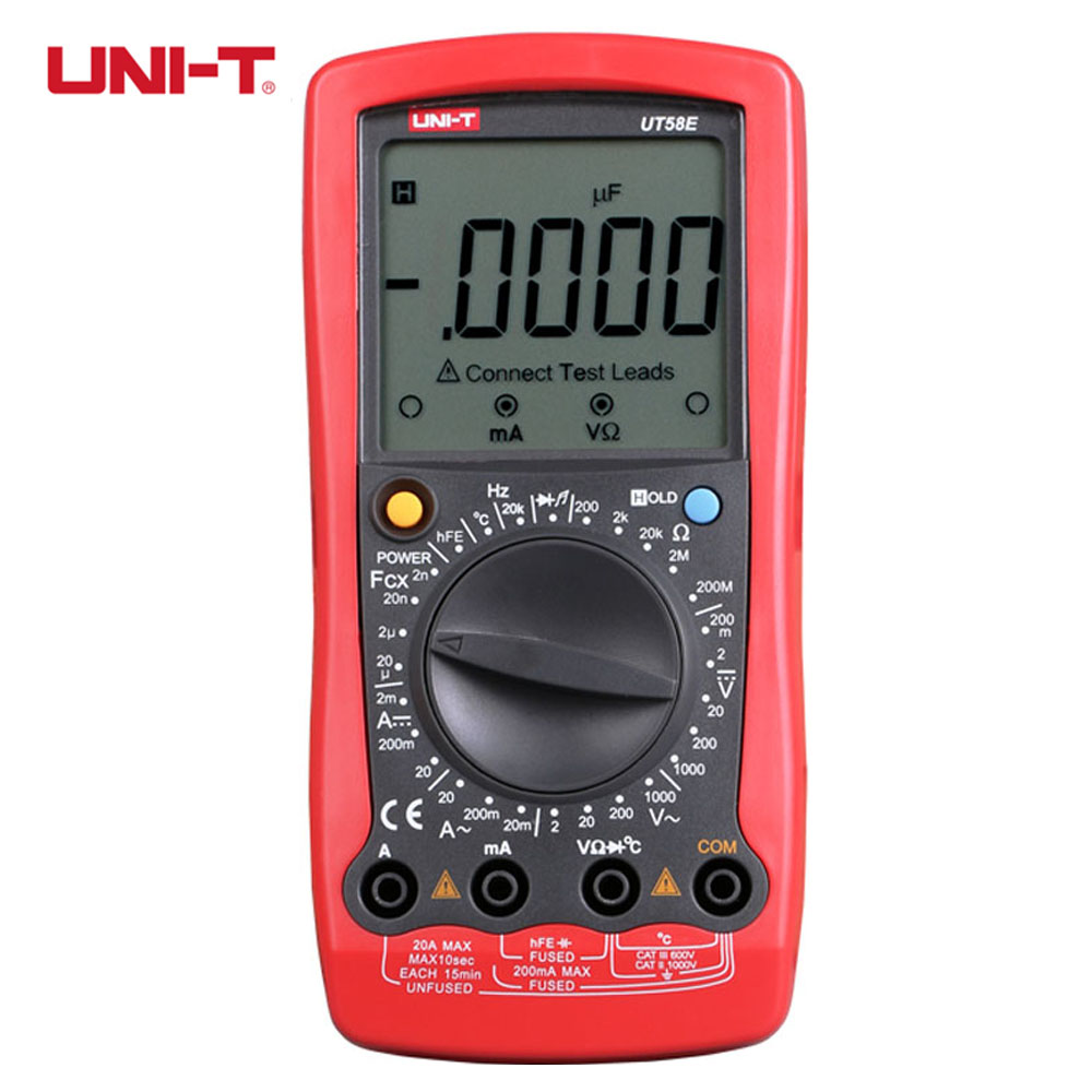 UNI-T UT58E Digital Multimeters Auto-range w/ Frequency Temperature Meter Tester Ammeter Voltmeter Multitester uni t ut61b modern digital multimeters 3999 count auto power off temperature tester lcd backlight